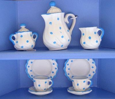 写真:コーヒーサービス2人 ブルー