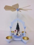 サムネイル:クリスマスピラミッド ゆきだるま達 水色
